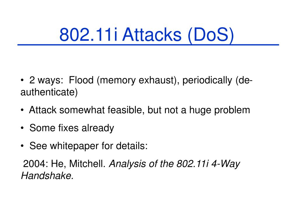 802.11i Attacks (DoS)