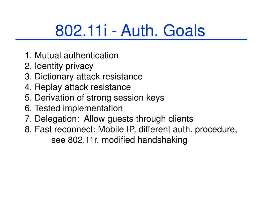 802.11i - Auth. Goals