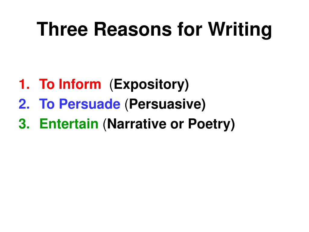 Three Reasons for Writing