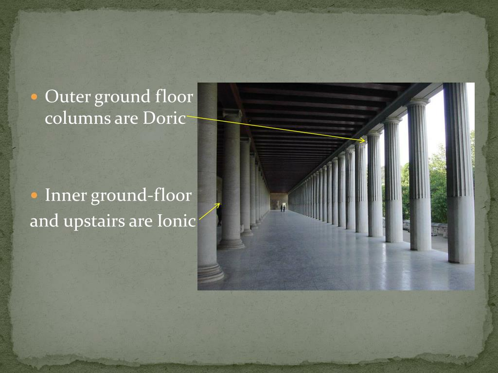 Outer ground floor columns are Doric