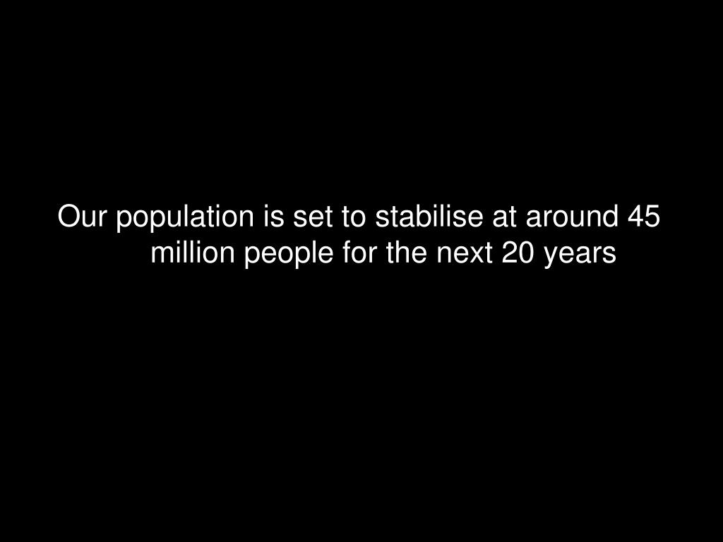 Our population is set to stabilise at around 45 million people for the next 20 years
