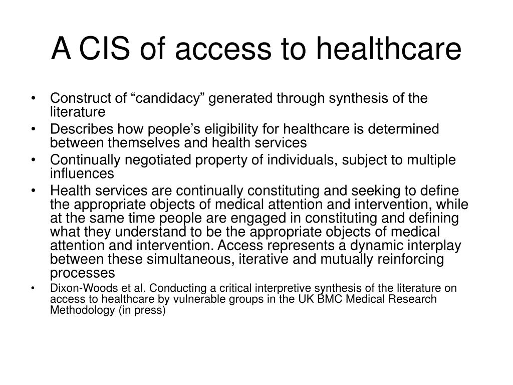 A CIS of access to healthcare