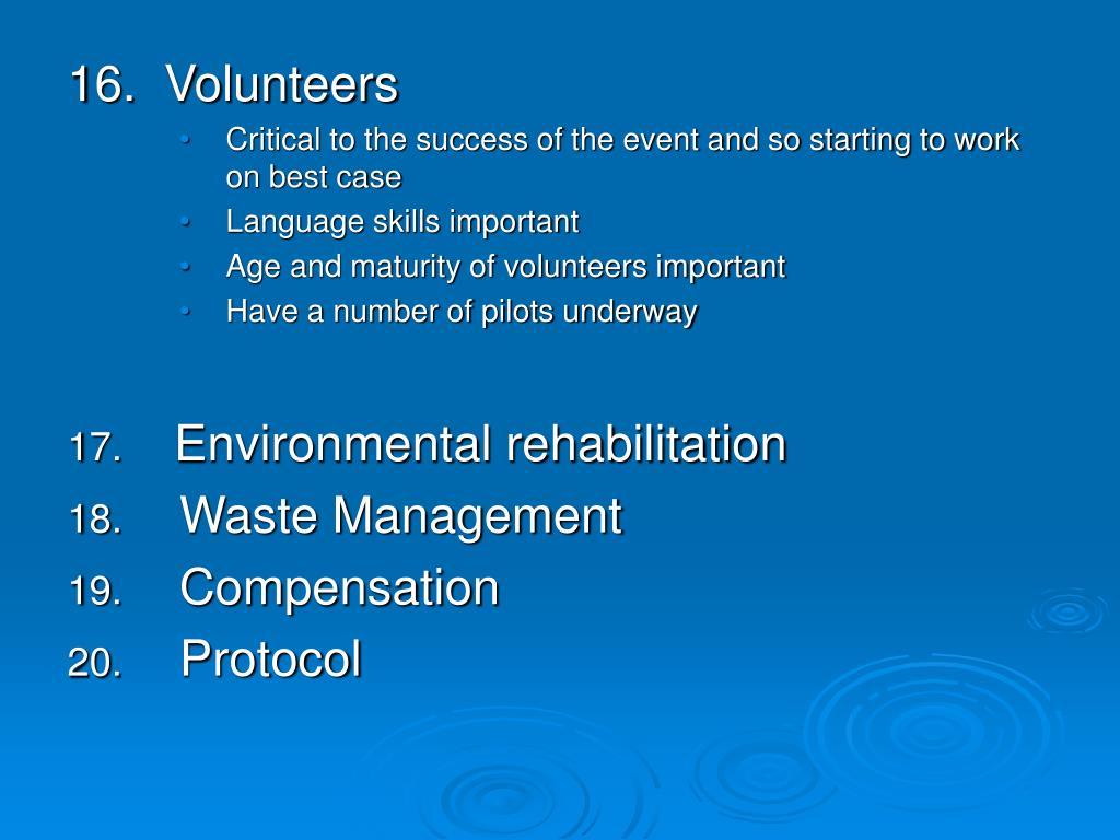 16.  Volunteers