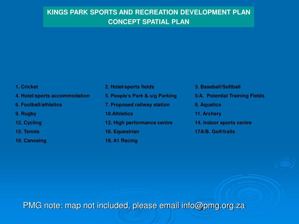 KINGS PARK SPORTS AND RECREATION DEVELOPMENT PLAN