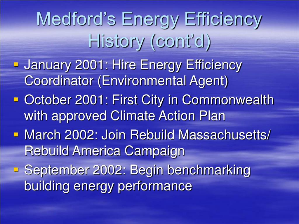 Medford's Energy Efficiency History (cont'd)