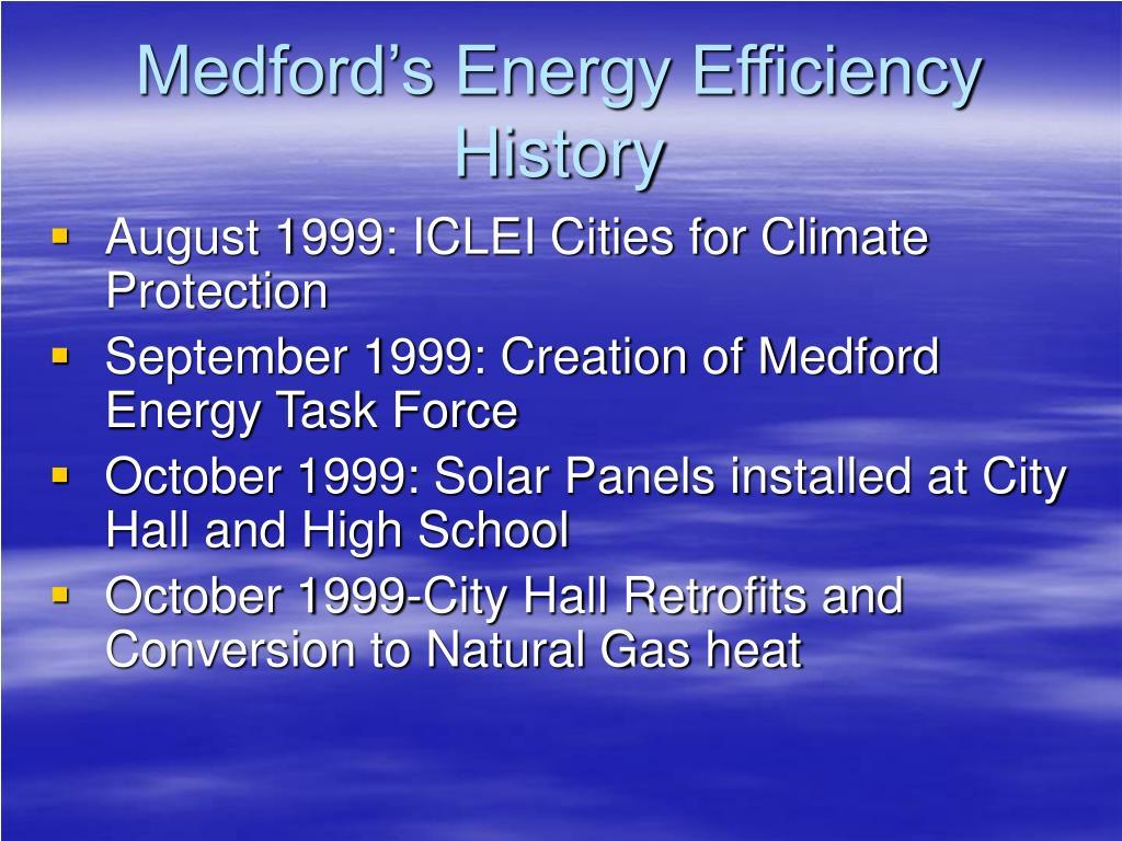 Medford's Energy Efficiency History