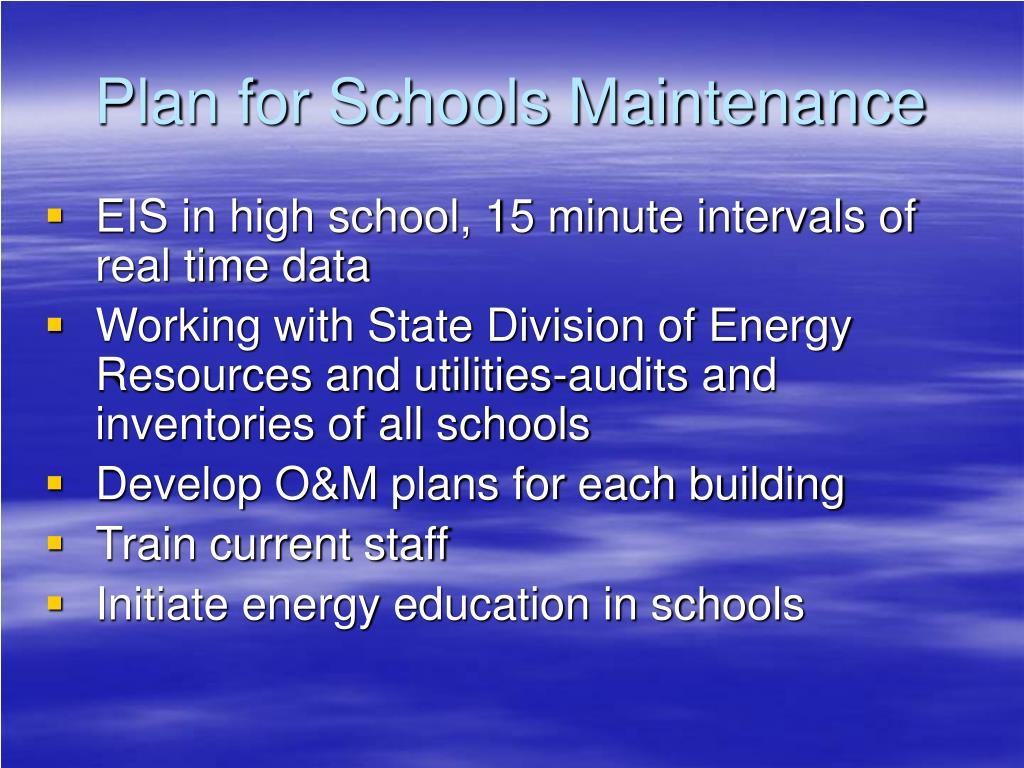 Plan for Schools Maintenance