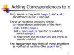 adding correspondences to