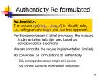 authenticity re formulated