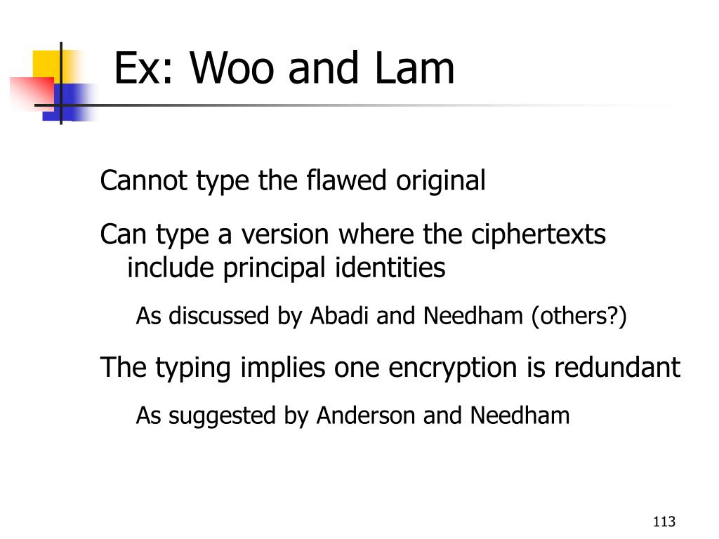 Ex: Woo and Lam