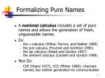 formalizing pure names