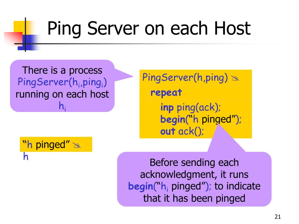 Ping Server on each Host