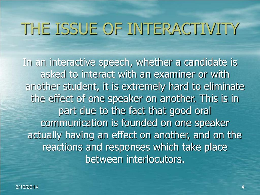THE ISSUE OF INTERACTIVITY