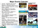major events calendar