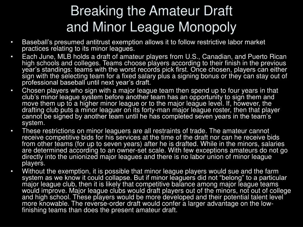 Breaking the Amateur Draft