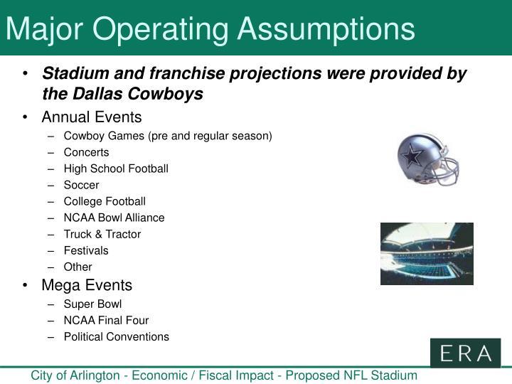 Major Operating Assumptions