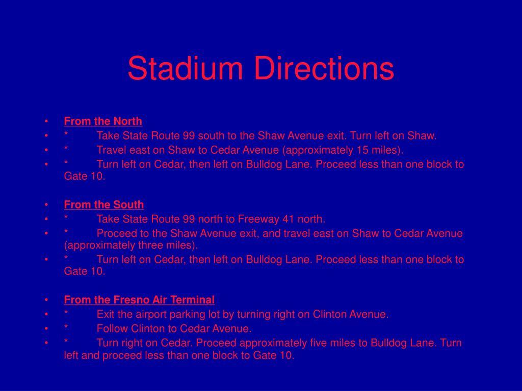 Stadium Directions
