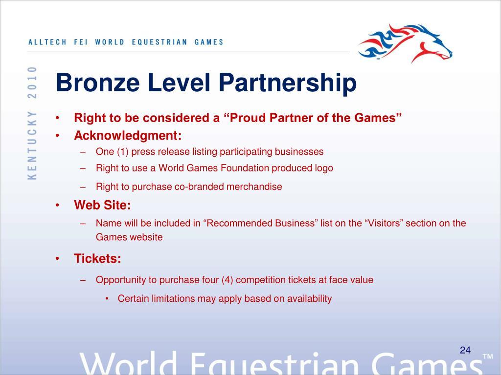 Bronze Level Partnership