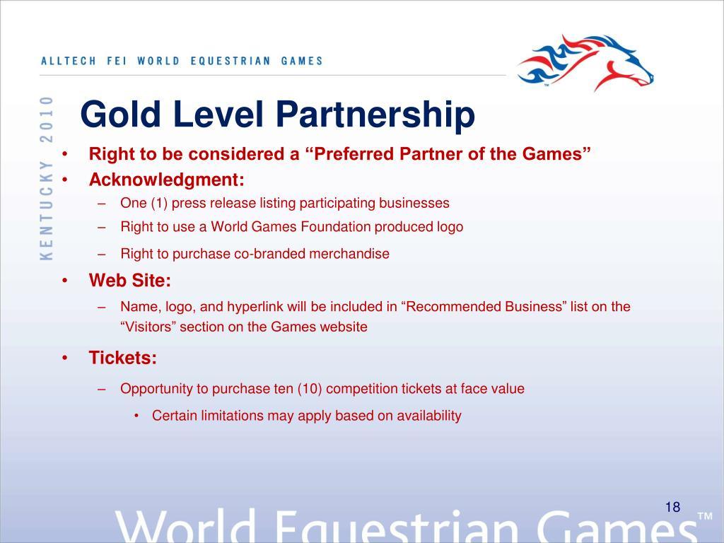 Gold Level Partnership
