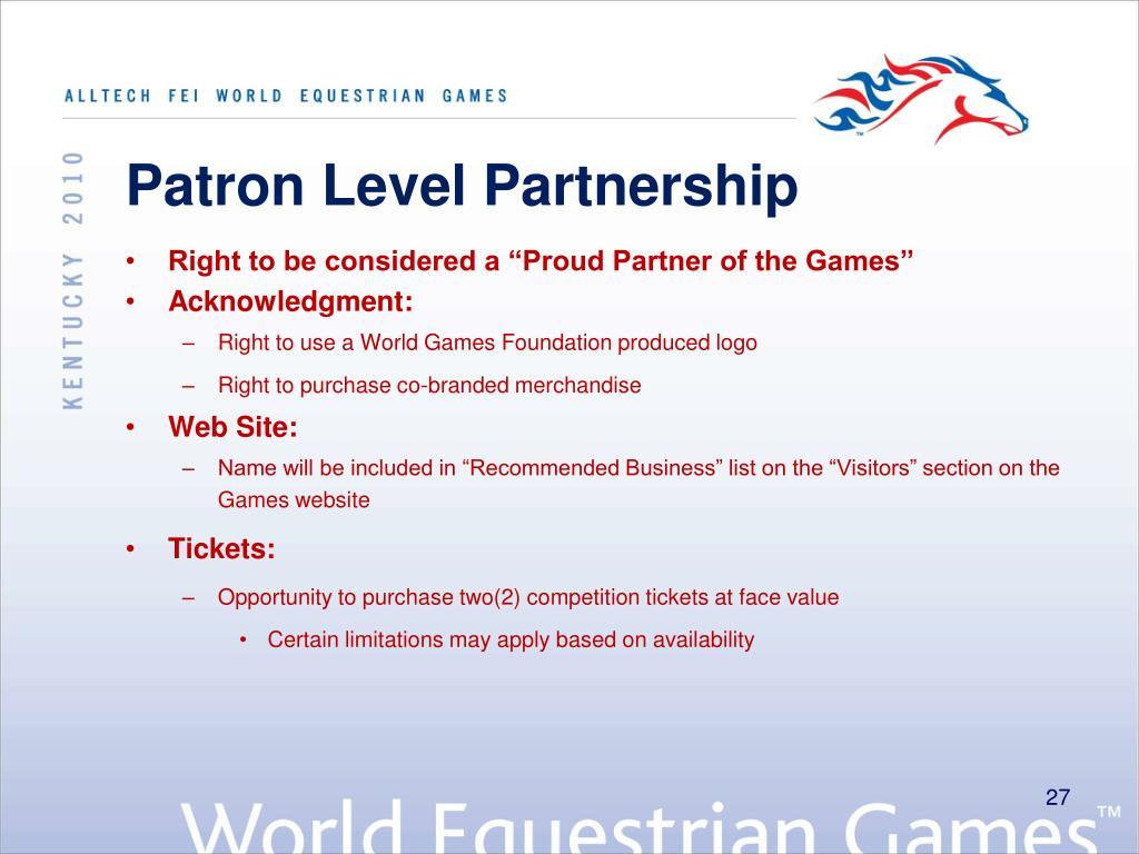 Patron Level Partnership