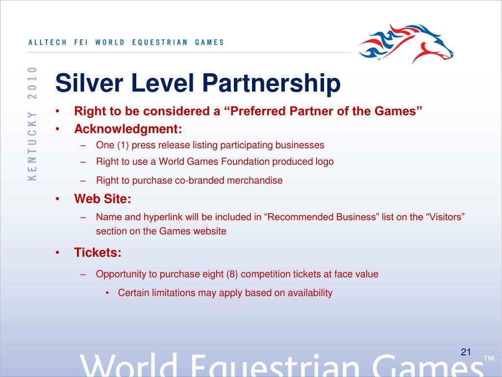 Silver Level Partnership