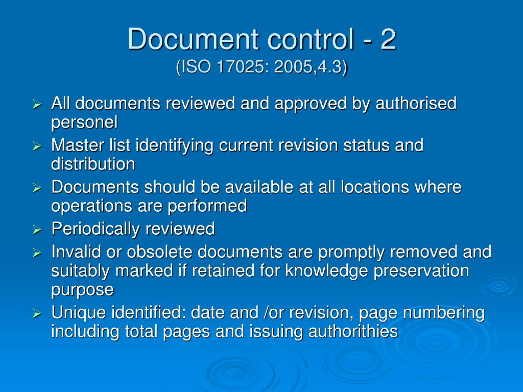 Document control - 2