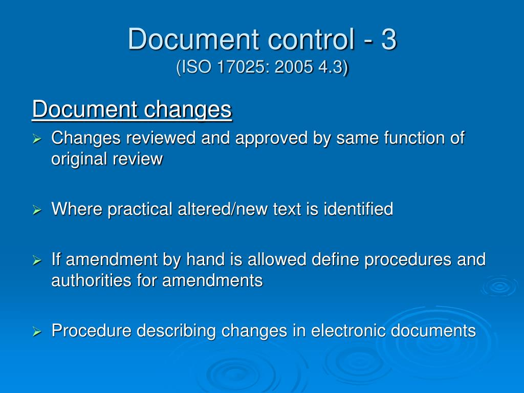 Document control - 3