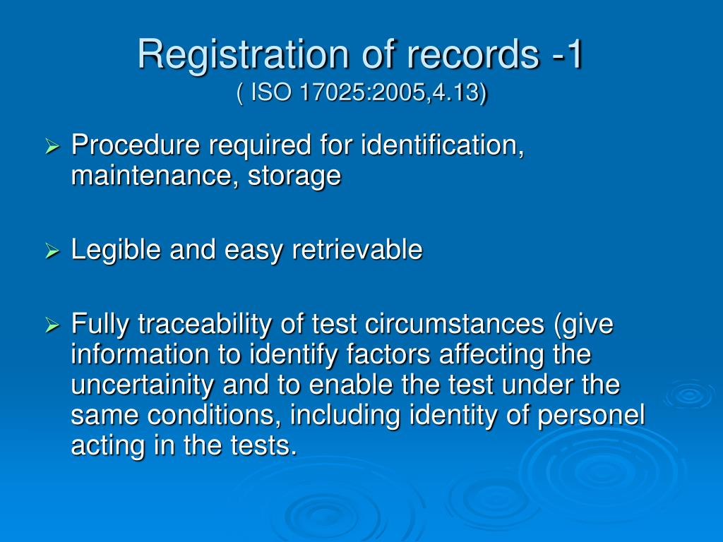 Registration of records -1