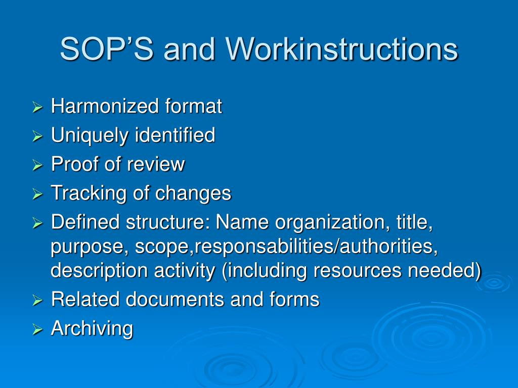 SOP'S and Workinstructions