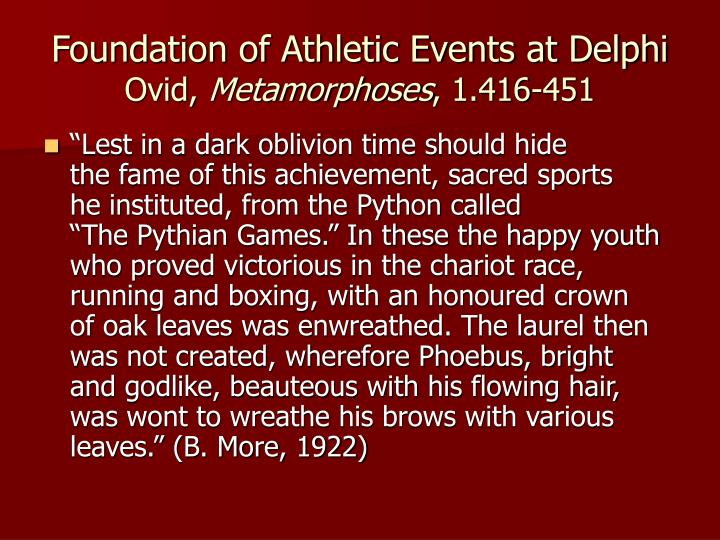 Foundation of Athletic Events at Delphi