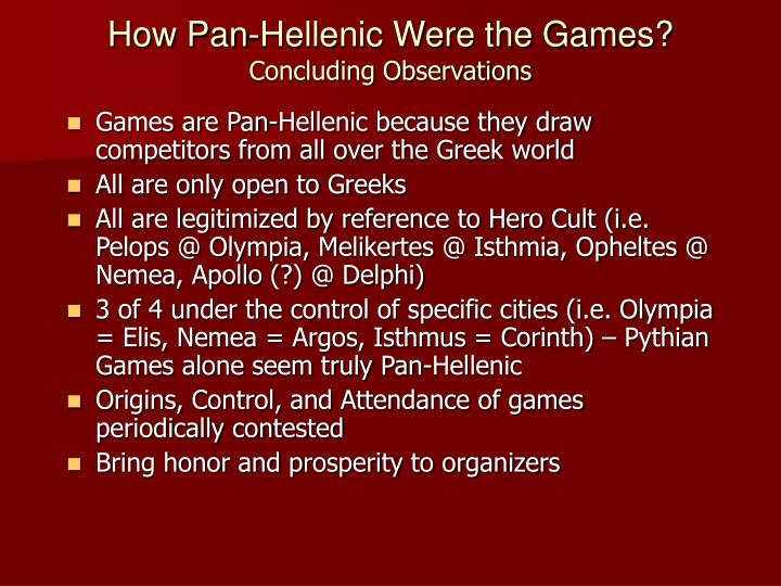 How Pan-Hellenic Were the Games?