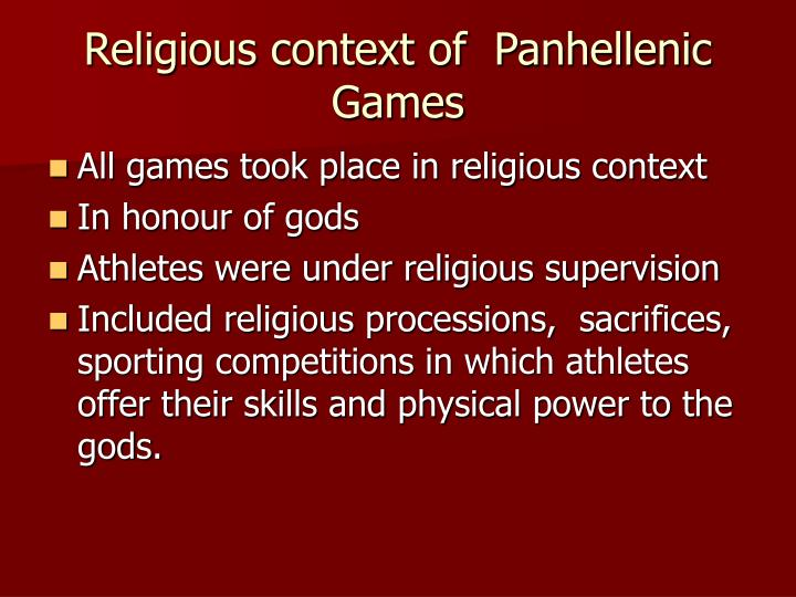 Religious context of  Panhellenic Games