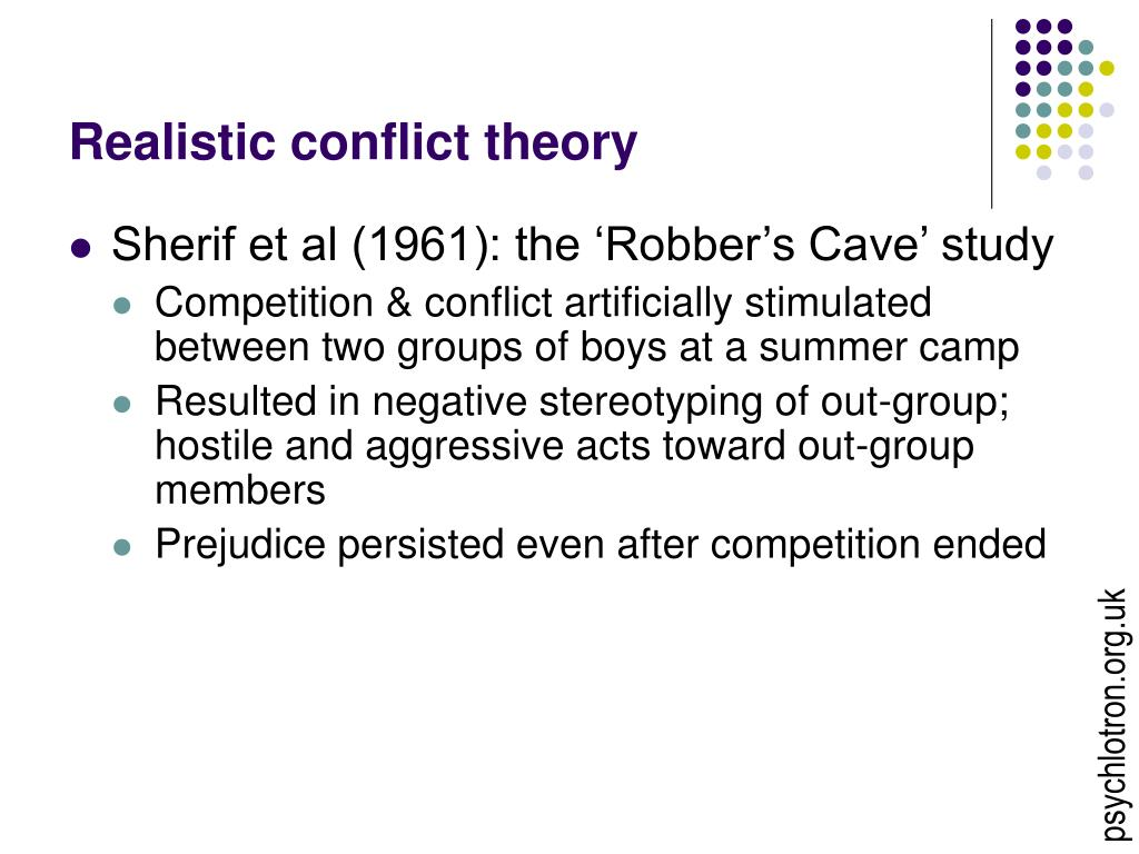 an analysis of realistic group conflict and prejudice Prejudice, discrimination, and the internet  we are going to group stereotyping and prejudice together for the sake  such as realistic group conflict theory.