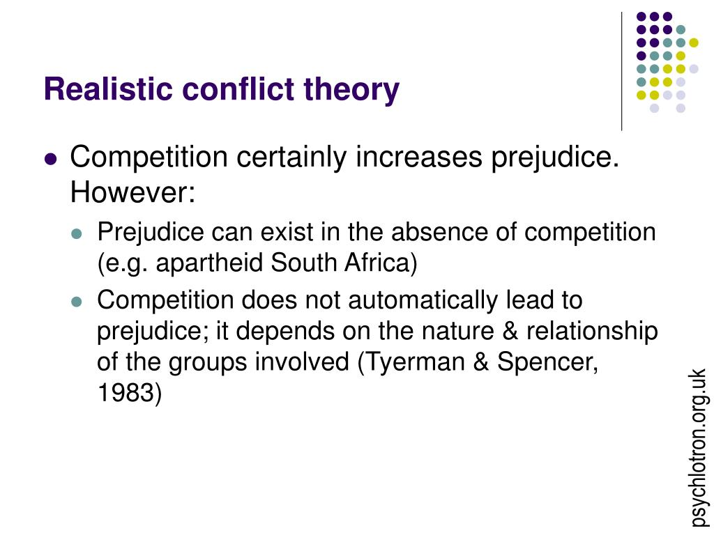 the conflict theory and racial discrimination Breaking down 'conflict theory' conflict theory has been used to explain a wide range of social phenomena, including wars and revolutions, wealth and poverty, discrimination and domestic violence.