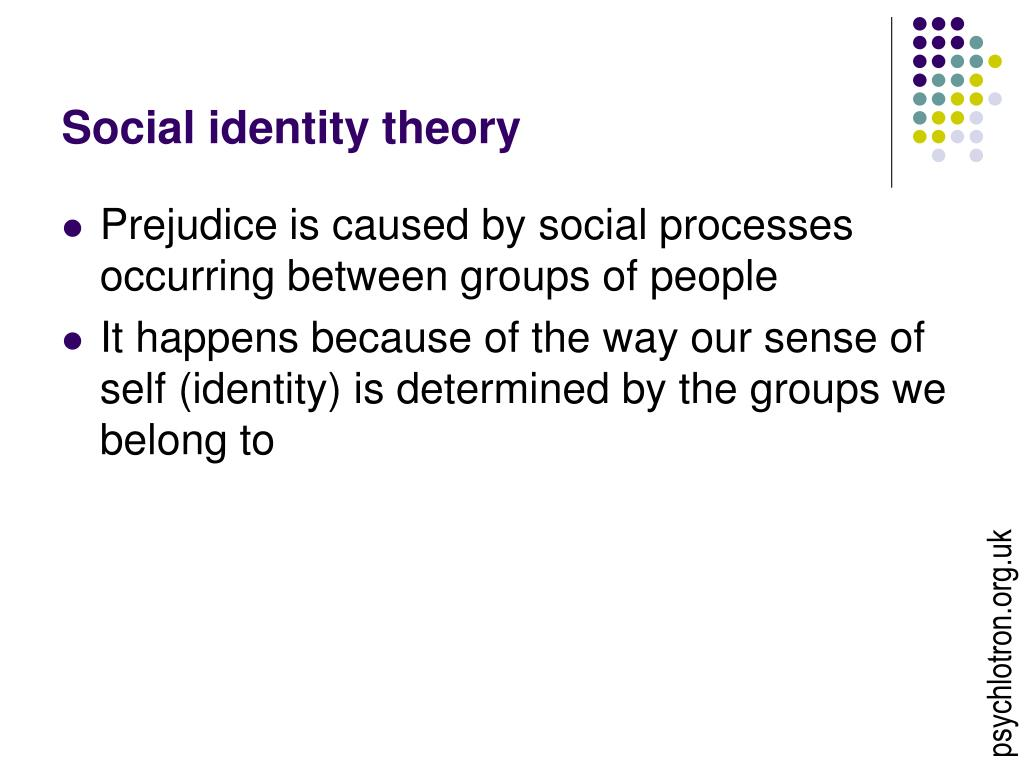 prejudice and social identity theory bert - in the blind side, prejudice is shown when a woman asks -michael finds his social identity when he begins to play but doesn't understand when bert is.