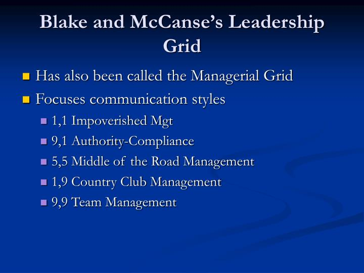 Blake and McCanse's Leadership Grid