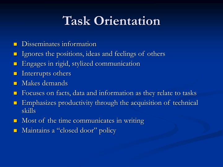 Task Orientation