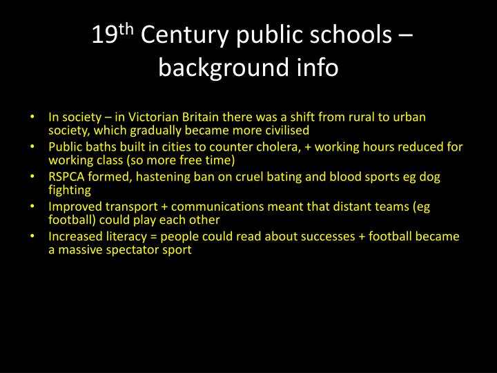 19 th century public schools background info