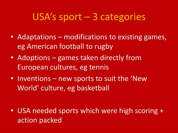 USA's sport – 3 categories