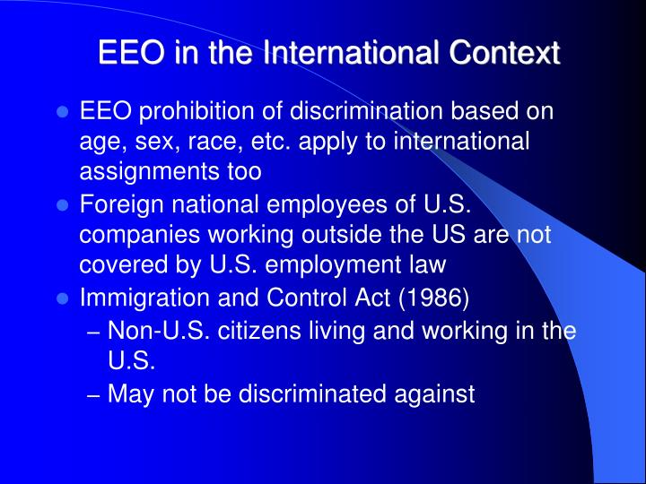 EEO in the International Context