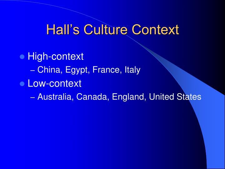 Hall's Culture Context
