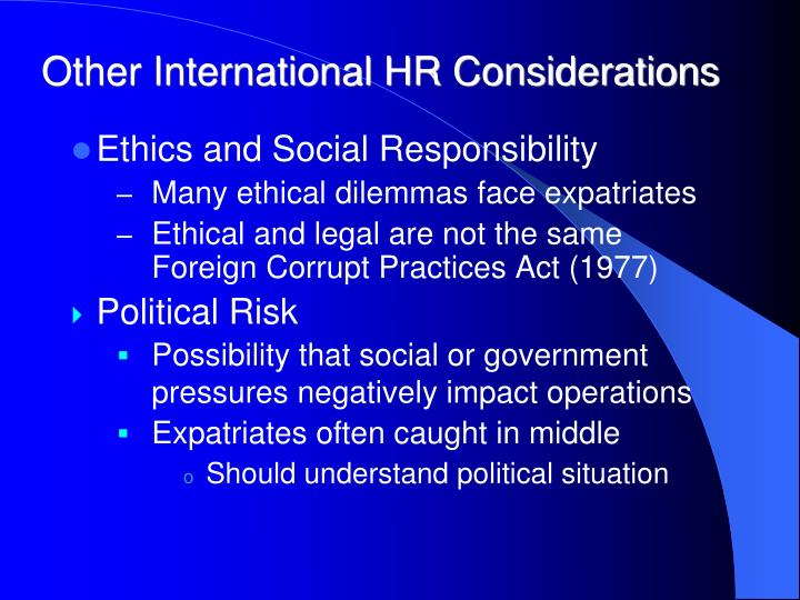 Other International HR Considerations