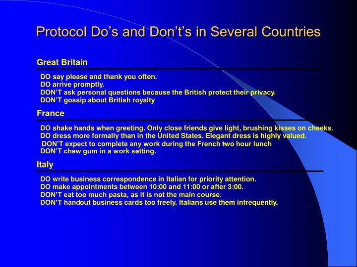 Protocol Do's and Don't's in Several Countries