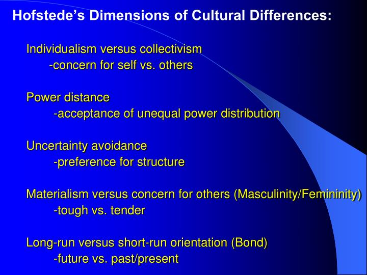 Hofstede's Dimensions of Cultural Differences:
