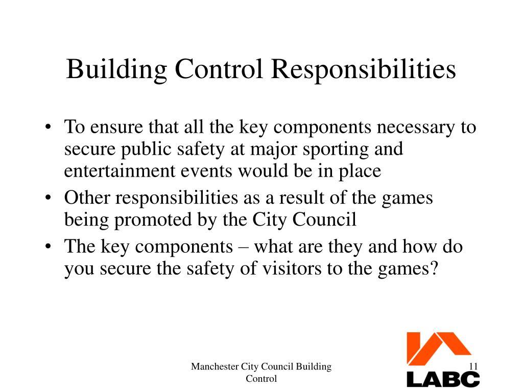 Building Control Responsibilities