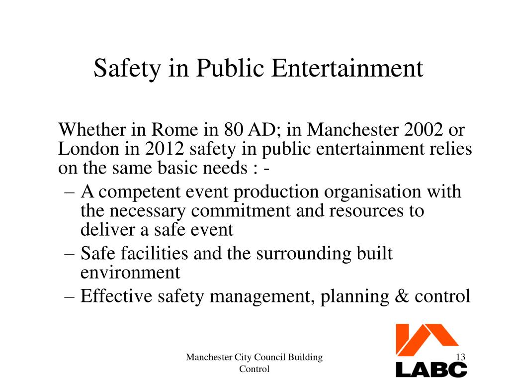 Safety in Public Entertainment