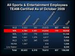 all sports entertainment employees team certified as of october 2009