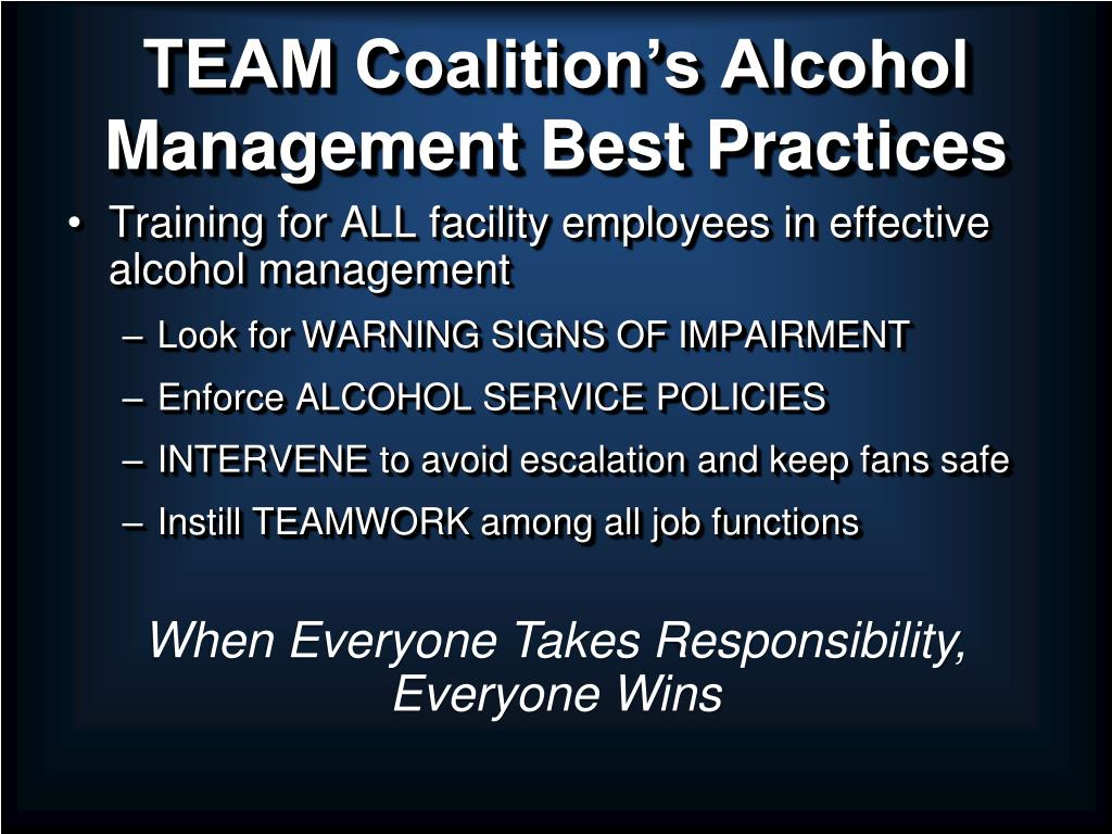 TEAM Coalition's Alcohol Management Best Practices