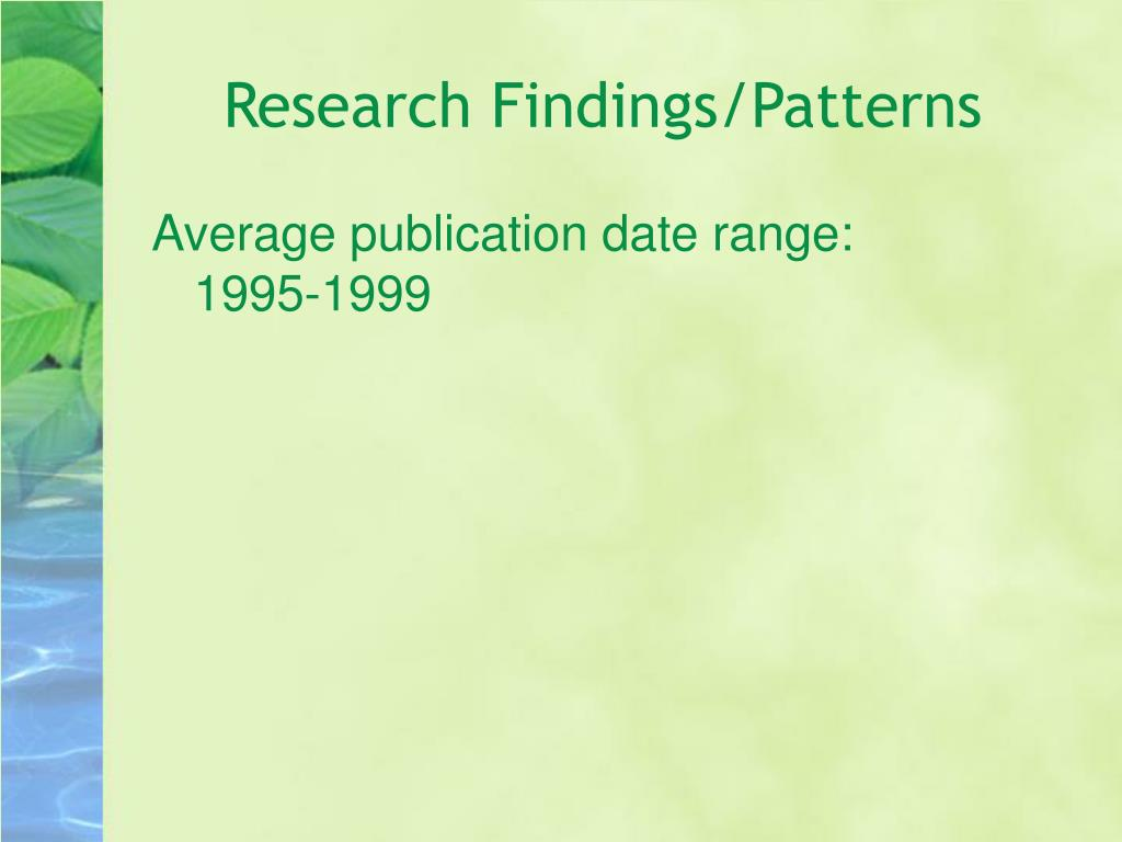 Research Findings/Patterns