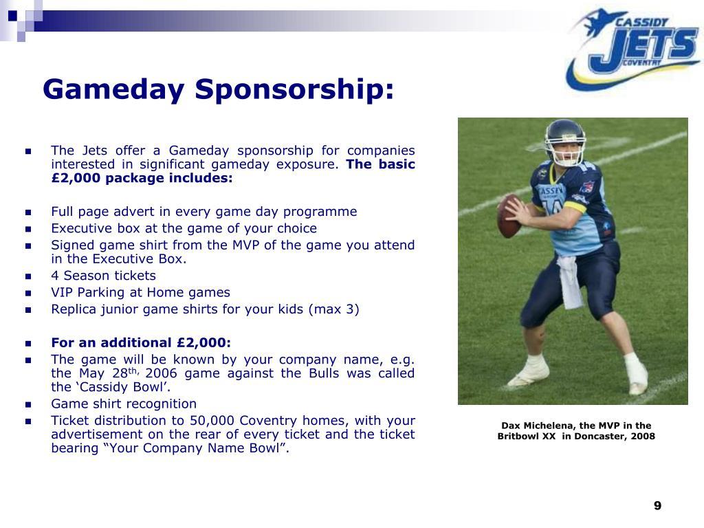 Gameday Sponsorship: